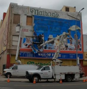 Nathan's Famous hot dog eating contest Wall of Fame sign removal